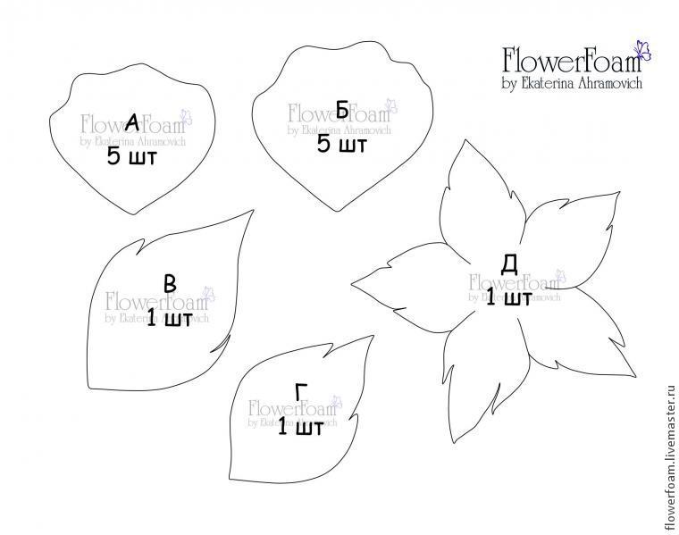 Цветы из фоамирана своими руками схемы шаблоны для начинающих